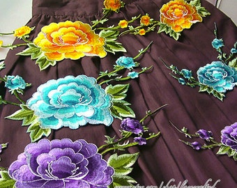Large Peony Flower Lace Applique, Embroidery Appliques, Shabby Chic Floral Patch In Blue Yellow Red Pink Purple, Iron on Applique