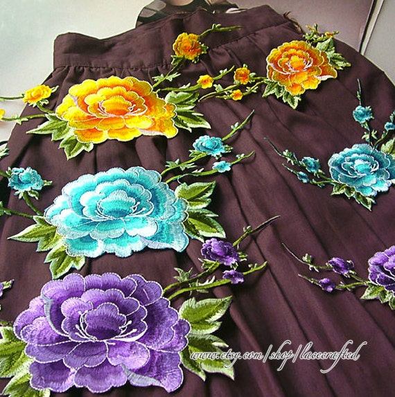 large peony flower lace applique embroidery appliques shabby