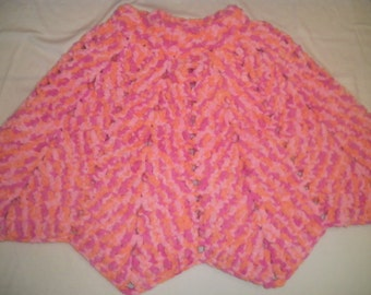 Girl's Crocheted Poncho - Size 8 - 10