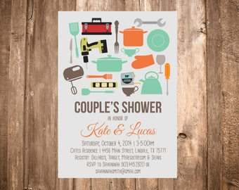 His & Hers Couple's Shower Invitation; Tools, Baking; Printable or set of 10