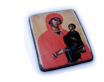 20x26cm wooden religious greek icon St. Ann (Saint Anne with the Virgin). Handmade using image of Angelos Akotanos painting, 15th century.
