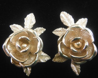 Sarah Coventry Brushed Gold, Rose Earrings, Vintage 1950's