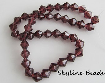 Faceted, Bicone Glass Beads, 8mm - Brown