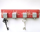 Key Holder Pink Rose Key Rack - CasstheCrafter