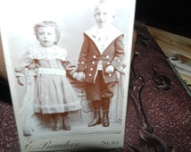 REDUCED TO CLEAR - Vintage Photography - Black and White Original Photography - Little Girl and Little Boy posing - Collectable - French