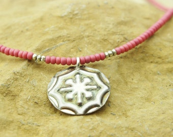 Pink glass seed beads and embossed sterling silver necklace unique handmade jewelry