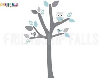 Mini Owl tree decal, owl tree, owl decal, owl nursery decor, decal, above crib decal, aqua chevron and grey