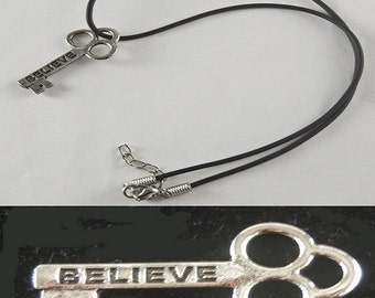 "Believe Mini Key Necklace with 18"" - 19 1/2"" Adjustable Black Cord"