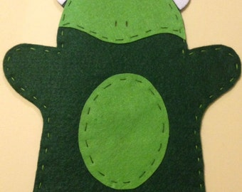 Handcrafted Felt Frog Hand Puppet