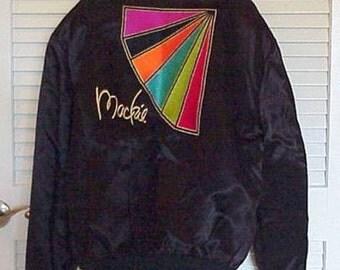 Vintage BOB MACKIE Custom Black Satin JACKET Embroidered