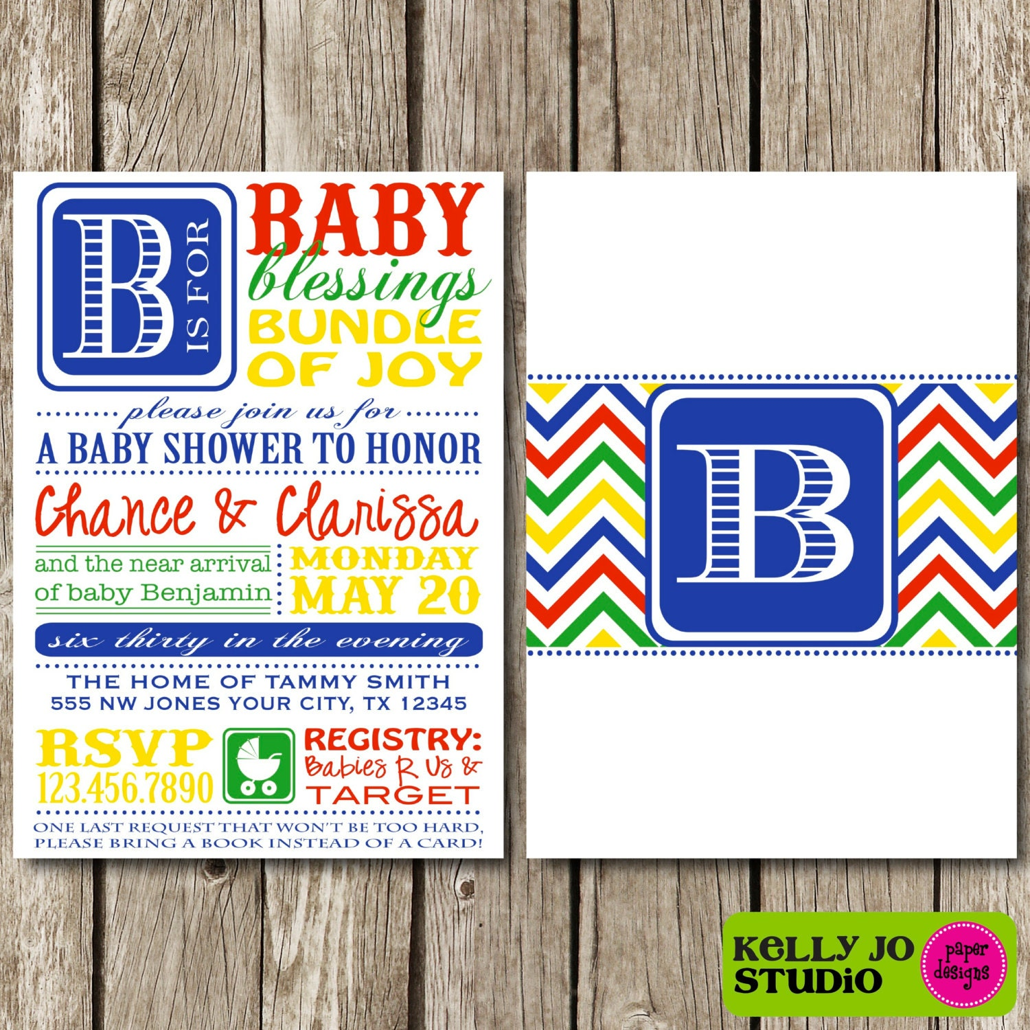 bright colors chevron typography baby shower invitation