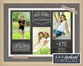 Back to School Minisession Photography Template - Engagement photo session Summer Fall Autumn - Digital Marketing Board Flyer Advertisement