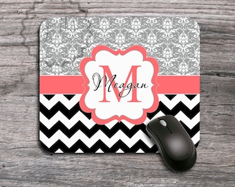 damask office accessories. Customized Mousepad - Cute Coral Monogram Label On Stylish Gray Damask And Black Chevron, Personalized Office Accessories ,