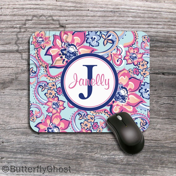 your name or initials, Monogrammed Mousepad, computer accessory - 062