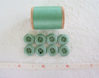 Vintage Sea Green Small Plastic Buttons - Set of 8