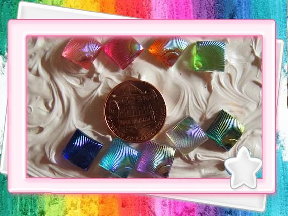 0: )- CABOCHON -( Rainbow AB Resin Sea Shell Squares Diamonds Clear Gloss Shine Iridescent