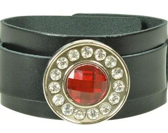 """Lederarmband """"STRASS CONCHO RUND"""", Leder, leather, Armband, bracelet, Niete, rivet, Strass, Strassniete, rhinestone, concho, round"""