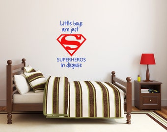 "Little boys are just Superheros in disguise - Vinyl Wall Decal Sticker - 20""H x 12.5""W"