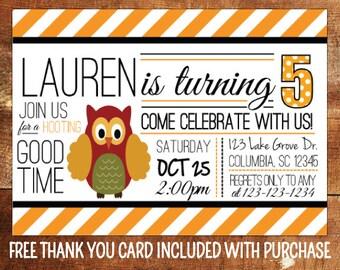 Owl Birthday Invitation - Owl Theme Birthday Party Invite - Fall Birthday Invitation - Birthday Party Printable - First Birthday