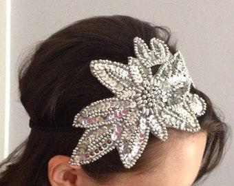 1920s Silver Flapper Bridal Headband Fascinator Gatsby Hairband