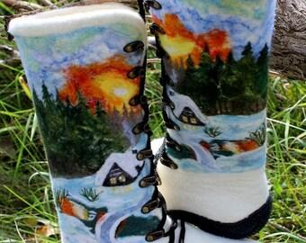 White felt winter boots Woolen fairy shoes for women Valenki Wool watercolor Custom size Outdoor felted shoes Snowy rustic landscape