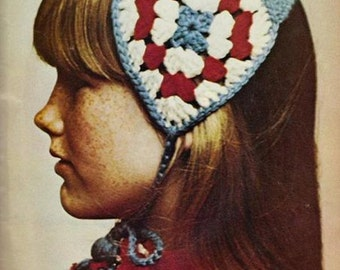Granny Square Headband with yarn doll tie ends, Vintage Crochet Pattern, INSTANT DOWNLOAD PDF
