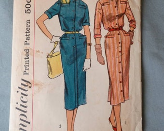 1950s Simplicity Pattern #2263 Bloused Bodice Slenderette Slim Skirt Dress Size 34 Bust