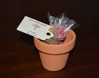Flower Pot Favor - Filled with Bird Seed, Flower Seeds, or Tea (10 Favors)