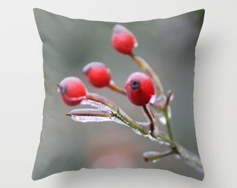 Frozen Berries, Pillow Cover, 16x16,18x18,20x20, home decoration, holiday decor, interior design, red berries, ice, winter, tree, christmas