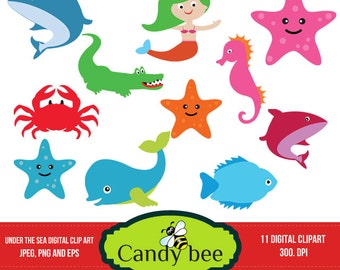 Under the sea Clipart Pack Clip art - Commerical and Personal Use