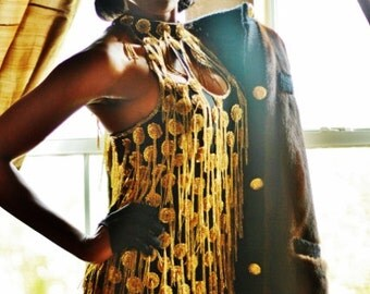 Tina Turner inspired beaded halter dress