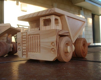 Wooden toy mine dump truck.