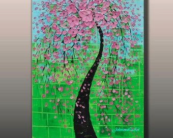 Original modern abstract landscape thick textured impasto palette knife pink flowers tree oil painting on 24x36 Canvas Ready to Hang