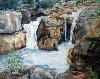 "Original watercolor painting, ""Cascades"""
