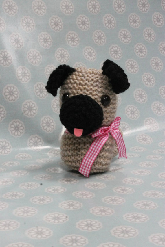 Knitted Pug Pattern : Toy Knitting Pattern PDF Pug The Puppy