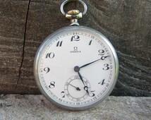 Rare Swiss Made Pocket watch Omega-1930,Working,Antique pocket watch,Men's pocket watch,Porcelain dial watch,Serviced,Retro watch,Mechanical