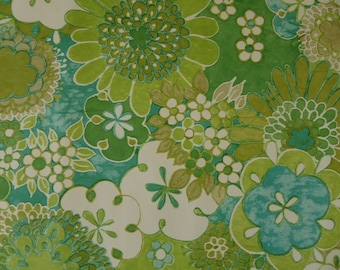 60s 70s Green Floral Original Vintage Wallpaper
