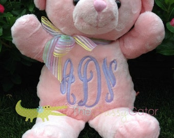 Monogrammed Stuffed Animal Teddy Bear - Personalized Stuffed Animal - Baby Shower Gift