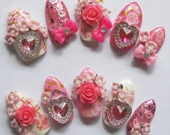 "3D deco nails- ""Rose Valentine"""