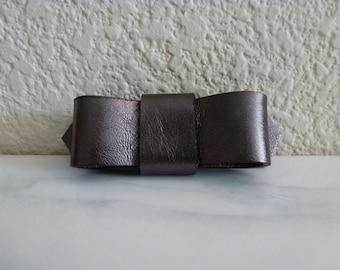 Leather Bow Pin - Metallic Gunmetal Leather