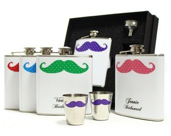 Bridesmaids gift flask sets