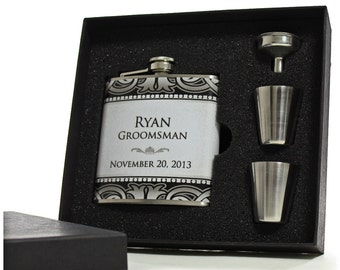 2, Gifts for Groomsmen,Personalized Art Deco Flask Gift Sets