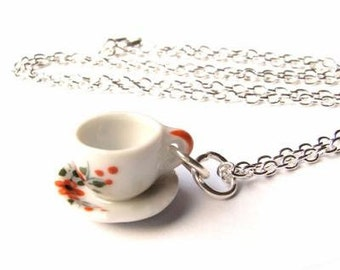 Alice in Wonderland Floral Teacup Necklace, Silver, Tea cup, Flower, Tea Party, Whimsical, Minature