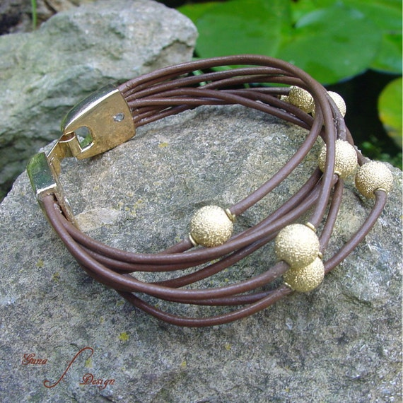 Leather Cord Wrapped Bracelet with Beads by GunaDesign tutorial