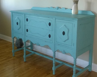 SOLD EXAMPLE...........Chalk Painted Sideboard/Buffet/Entertainment Center Annie Sloan Paint Dining room Furniture