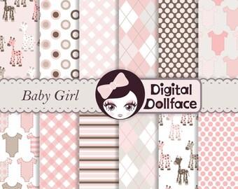 Baby Girl Pink and Brown Digital Paper, Scrapbook Paper Pack, Giraffe