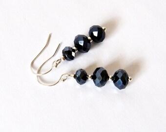 Black Drop Earrings, Black Beaded Earrings, Stacked Bead Earrings, Black Dangle Earrings