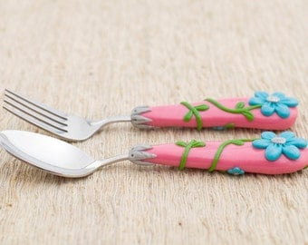 Pink Silverware Set Floral Design Easter Gift for Girls Blue Flower for Girl Unique Birthday Gift Handmade Cutlery Set for Girls Party