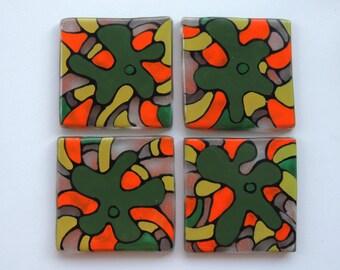 fused glass tiles,glass tiles,painted tiles,hand painted glass tiles,green orange tiles,kitchen tiles,home decor tiles,gift for home