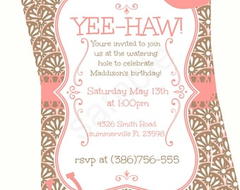 Cowgirl Birthday Invitation - Birthday Invite - Cowgirl Invite - Cowgirl Party - JPEG File - Party Invitation - Custom Invitation
